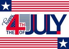 愉快的美国独立日水平的backgrond 7月4日 第四 传染媒介-纪念品 标志 爱国庆祝 图库摄影