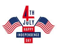 愉快的美国独立日- 7月4日美国-爱国的阵亡将士纪念日-国旗纪念日- 库存图片