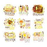 愉快的老师天五颜六色的图形设计模板商标集合,手拉的传染媒介钢板蜡纸 皇族释放例证