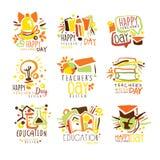愉快的老师天五颜六色的图形设计模板商标系列,手拉的传染媒介钢板蜡纸 皇族释放例证