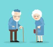 愉快的老男人和妇女有玻璃和walkins藤茎的 在蓝色背景 平的illustartion 10 eps 库存图片