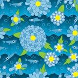 愉快的花鱼蓝色无缝的样式 免版税图库摄影