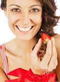 愉快的草莓妇女 图库摄影