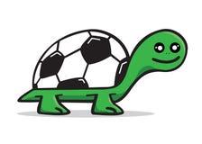 愉快的草龟商标足球 免版税库存图片