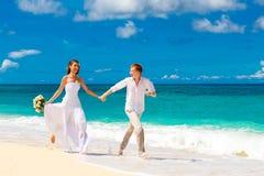 愉快的获得的新娘和新郎在一个热带海滩的乐趣 图库摄影