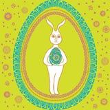 愉快的葡萄酒复活节兔子 图库摄影