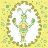 愉快的葡萄酒复活节兔子 免版税库存图片