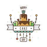 愉快的蛋糕天 也corel凹道例证向量 库存图片