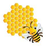 愉快的蜂和蜂箱 免版税库存图片