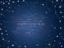 愉快的语言新的世界年 免版税库存照片