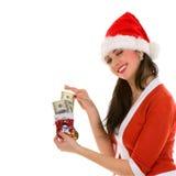 愉快的货币圣诞老人妇女 库存照片