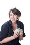 愉快的货币妇女 图库摄影