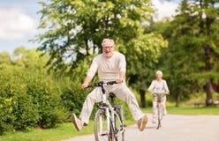 愉快的资深夫妇骑马在夏天公园骑自行车 免版税图库摄影