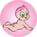 愉快的赤裸女婴 向量例证