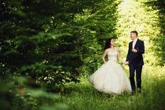 愉快的走在夏天森林里的新娘和新郎 免版税库存照片