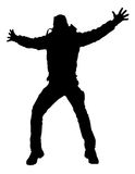 愉快的跳的人剪影 向量例证