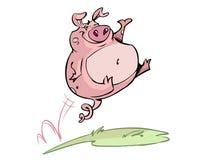 愉快的跳的猪 库存例证