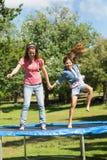 愉快的跳跃高在绷床的女孩和母亲在公园 库存照片