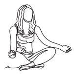 愉快的轻松的少妇实践的瑜伽 健康自然生活方式 实线图画 被隔绝的传染媒介 向量例证
