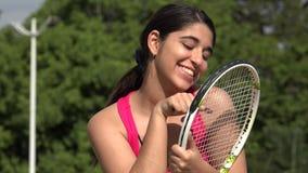 愉快的运动女性少年网球员 股票视频