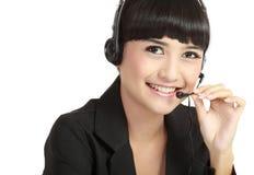 愉快的运算符电话纵向微笑的技术支&# 库存图片