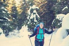 愉快的远足者在积雪的森林走 免版税图库摄影