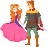 愉快的迷人的王子和美丽的公主的例证 免版税库存照片