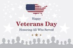 愉快的退伍军人日 与美国旗子的背景的贺卡和战士 全国美国假日事件 平的illustrati 库存照片