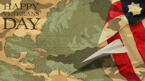 愉快的退伍军人日 飞机例证格式制造origami纸张模式向量 免版税库存照片