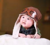 愉快的逗人喜爱的三个月的老亚裔婴孩 库存图片
