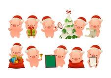 愉快的逗人喜爱的圣诞节猪被隔绝的传染媒介的汇集 库存例证