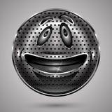 愉快的金属兴高采烈的面孔按钮 免版税库存图片