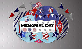 愉快的阵亡将士纪念日背景模板 星和美国国旗 爱国的横幅 也corel凹道例证向量 图库摄影