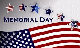 愉快的阵亡将士纪念日背景模板 星和美国国旗 爱国的横幅 也corel凹道例证向量 免版税库存图片