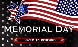 愉快的阵亡将士纪念日背景模板 星和美国国旗 爱国的横幅 也corel凹道例证向量 库存照片