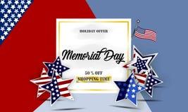 愉快的阵亡将士纪念日背景模板 星和美国国旗 爱国的横幅 也corel凹道例证向量 免版税库存照片