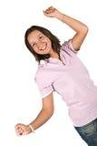 愉快的青少年的女孩用现有量 免版税图库摄影
