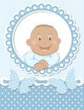 愉快的非洲男婴剪贴薄蓝色框架 免版税库存图片