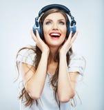 年轻愉快的音乐妇女被隔绝的画象。女性式样演播室 图库摄影