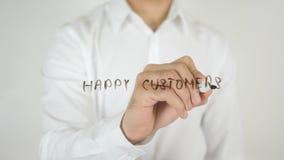 愉快的顾客,写在玻璃 图库摄影