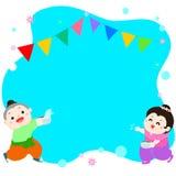 愉快的飞溅在songkran节日泰国vecto的男孩和女孩 库存照片