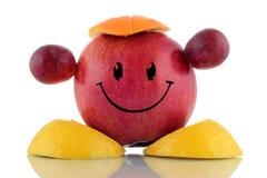 愉快的饮食。 滑稽的果子字符收藏 免版税图库摄影