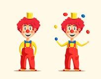 愉快的马戏团小丑 外籍动画片猫逃脱例证屋顶向量 免版税库存图片