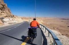 愉快的骑自行车的人在美丽的路放松在以色列沙漠 晴朗的热的天 库存照片