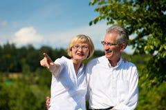 愉快的高级夫妇有一个结构在夏天 免版税库存照片
