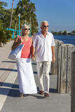 愉快的高级夫妇走的热带海运或河 库存照片
