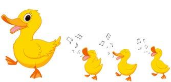 愉快的鸭子家庭动画片 免版税库存图片