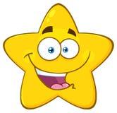愉快的黄色星动画片Emoji面对与表示的字符 向量例证