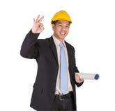 愉快的年轻亚裔工程师 免版税库存照片