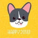 愉快的2018传染媒介新年贺卡 狗被画的现有量 免版税库存图片